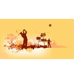 Golf Silhouettes in yellow background vector image vector image