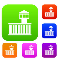 prison tower set collection vector image vector image