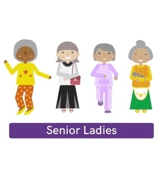 Senior woman set vector image