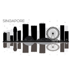 singapore city skyline black and white silhouette vector image