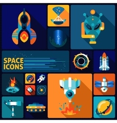 Space icons flat set vector image
