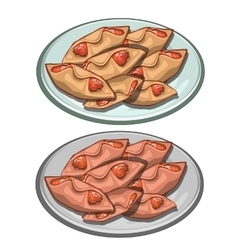 Sweet pies envelopes jam on a plate food vector image