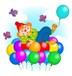 clown flying on balloons vector image vector image