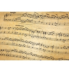 Music notes on stave old paper background vector