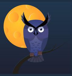 owl moon cartoon vector image vector image