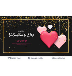Pink hearts and luxurious golden frame on black vector