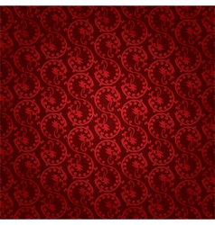 Red vintage floral seamless pattern vector image