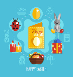 spring easter flat concept vector image vector image