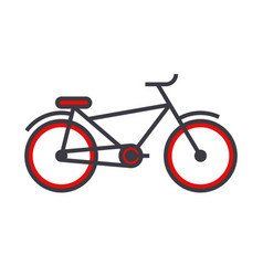 bicycle flat line concept vector image vector image