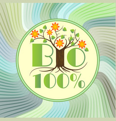 bio emblem with tree in blossom on green wavy vector image vector image
