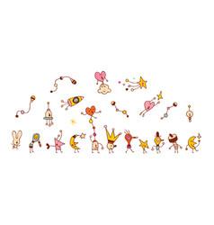 Cartoon comic characters group vector