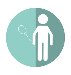 character badminton player racket shadow vector image vector image
