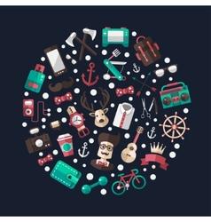 Circle of modern flat design hipster vector image