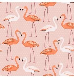 Flamingo birds couple pattern on pink polka dot vector image vector image