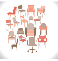 set of chairs and armchairs set of different vector image vector image