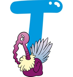T for turkey vector image vector image
