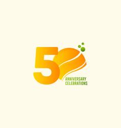 50 years anniversary celebration orange template vector