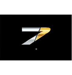 7 number silver gold logo icon design vector