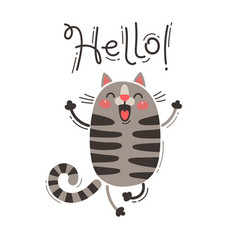 a happy cat greets you hello vector image