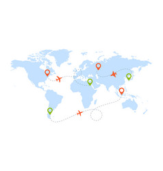 aircraft route worldwide map with pictograms of vector image