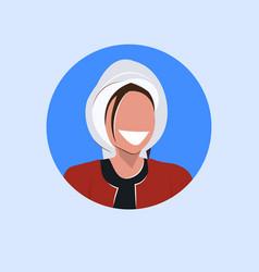 arab woman face avatar happy arabic girl wearing vector image
