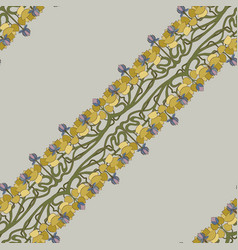 Art deco floral seamless pattern on grey vector