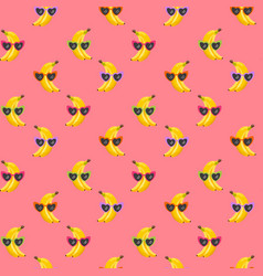 banana funny glasses seamless pattern for fashion vector image