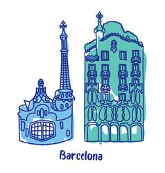 Barcelona buildings flat color vector