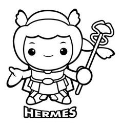 Black and white god of strangers hermes character vector