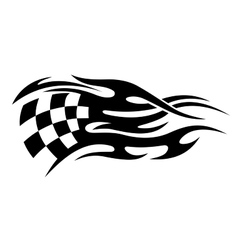 Black and white motor sports flag tattoo vector