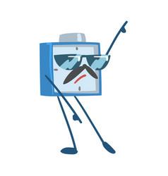 Blue alarm clock character in sunglasses dancing vector