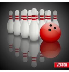 Bowling pins and ball with reflection vector image