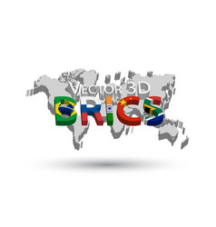 brics and 3d world map vector image