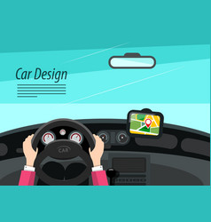 car interior design with hands on steering wheel vector image