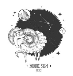 Card with astrology aries zodiac sign vector