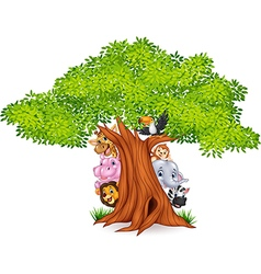 Cartoon african animals with tree vector