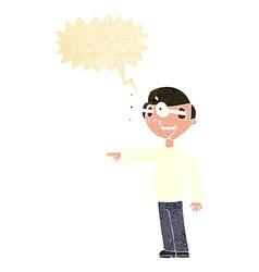 Cartoon staring man with speech bubble vector