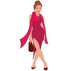 Cartoon young woman in pink dress and pink scarf vector image