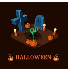 Cartoon Zombie Hand at Cemetery Halloween vector image