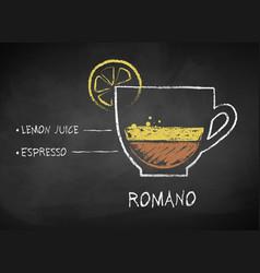 Chalk drawn sketch of coffee romano vector