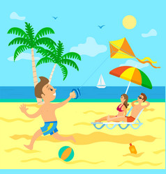 child with wind kite parent relaxing on beach vector image