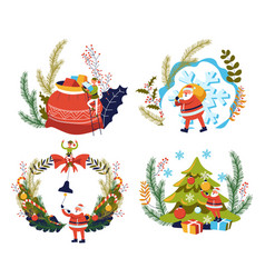 christmas and new year santa claus gifts and xmas vector image