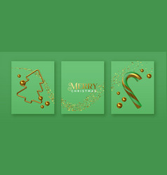 christmas green card set 3d gold party decoration vector image