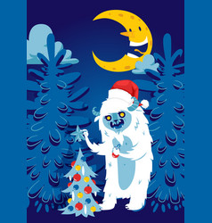 christmas night forest bigfoot monster spooky vector image