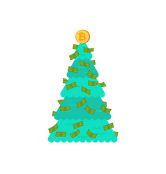 christmas tree financial bitcoin and dollars vector image
