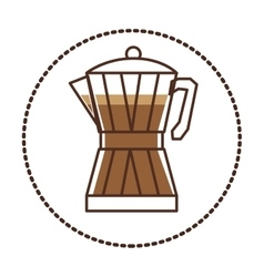circular sticker glass jar of coffee with handle vector image