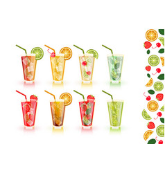 Cocktails set alcoholic beverages art object vector
