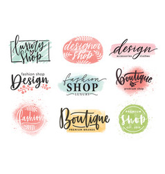 collection beautiful lettering hand drawn vector image