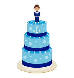 communion cake for boy vector image