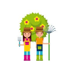 Couple of gardeners icon vector